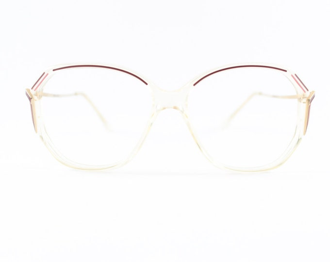 80s Vintage Glasses | Clear Oversized Rounded Eyeglass Frame with Burgundy and Pink Accent | NOS 1980s Nylon Eyeglasses - Loren