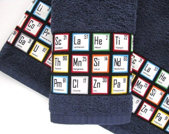 Periodic table Towels, hand towels, bath towels, Periodic Table, geek towels, science, custom towels, bathroom, august ave, chemistry, gift