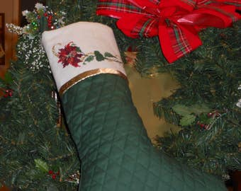 Cross Stitch Cuff  Quilted Christmas Stocking