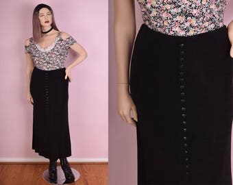 90s Black Button Down Skirt/ Large/ 1990s