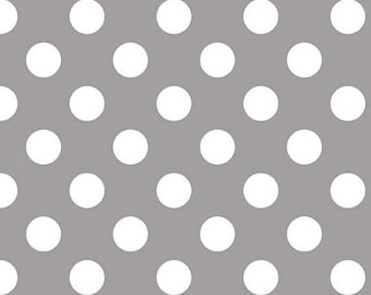 SALE Fat Quarter Riley Blake Gray Medium Dots Cotton Fabric