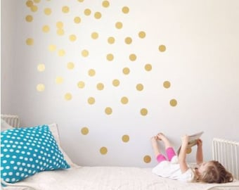 Wall decals murals etsy ie polka dot wall decal gold dots decals confetti stickers metallic gold nursery decor gumiabroncs Choice Image