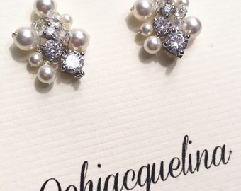 The Shannon Bridal Studs, Cubic Zirconia and Pearl Studs, Small Bridal Studs, Tiny Bridal Earrings, Sterling Silver Post, Cluster Earrings