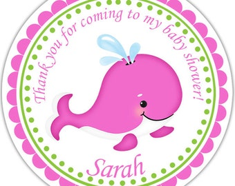 Preppy Pink Whale - Personalized Stickers Baby Shower Birthday , Party Favor Tags, Thank You Tags, Gift Tags, Address labels, Baby Shower