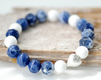 Blue and White Bracelet, Blue Sodalite, White Jade, Nautical Jewelry, Beaded Bracelet, Silver Heart, Stretch Bracelet, Stacking Bracelet