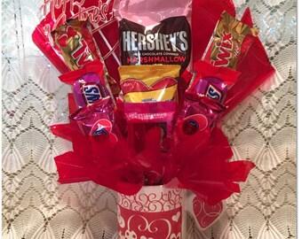 Valentine Candy Arrangement, Red Hearts, Valentine Candy Gift
