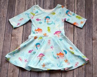 Mermaid Dress. Baby Mermaid Dress. Baby Dress. Toddler Dress. Little Girl Dress. Twirl Dress. Twirly Dress. Play Dress. Ocean Dress.