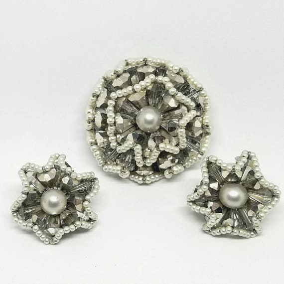 Vintage Coro Vendome 1960s Ruffled Beaded Pin and Earring Set