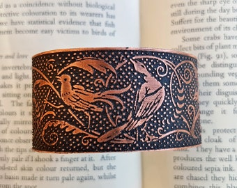 Birds of Paradise Art Nouveau Illustration Bracelet - woodland floral jewelry, bird bracelet, sylvan tropical woodcut jewelry