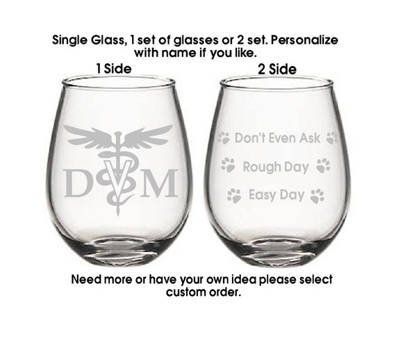 good day bad day glassdoctors dayetched wine glassesdvm glass