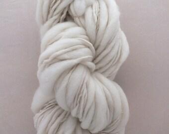 Hand Spun Thick and Thin Yarn, Undyed Natural Organic Merino Wool Slub, Chunky Bulky, knitting, weaving