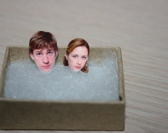 The Office Jim and Pam John Krasinski Stud Face Earrings Celebrity Inspired Jewelry