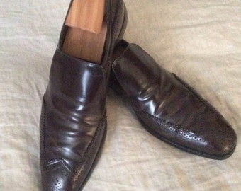 Vintage Prada Men's Cordovan Wing Tip Loafers Size 10 USA