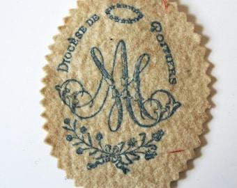 Antique French Poitiers Marian Monogram Felt Devotional Scapular