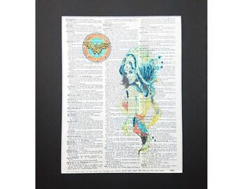Super Mega Wonder Woman on Vintage Dictionary Page Art Print, Wall Decor, Digital Manipulation with Sparks of Glitter,