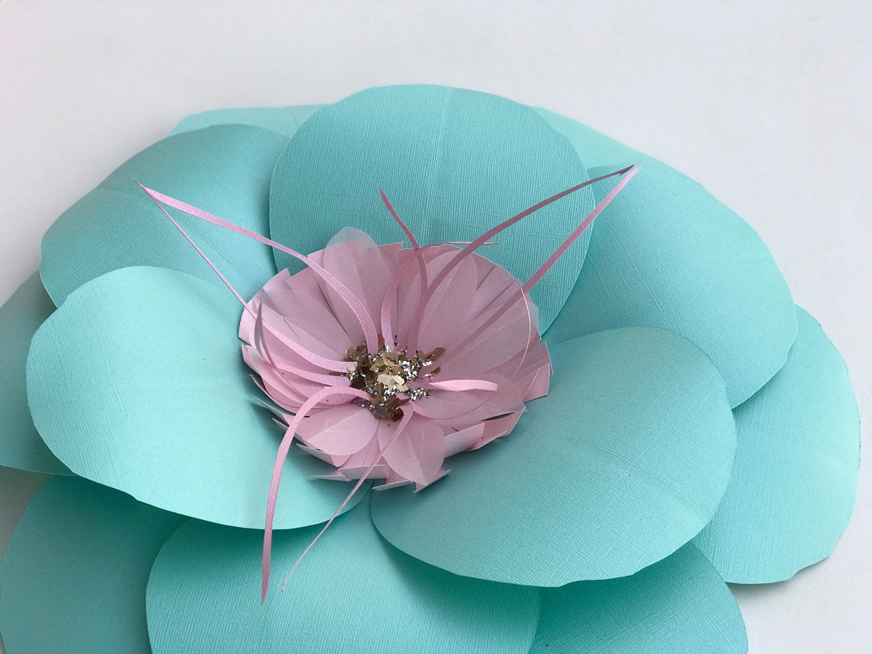 Paper flowers turquoise wall decor baby girl nursery mint green