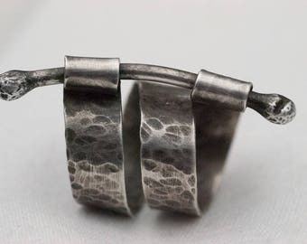 Hammered Branch Ring Sterling Silver Industrial Hand-Crafted Artisan One-Of-A-Kind Oxidized Laura Brothers