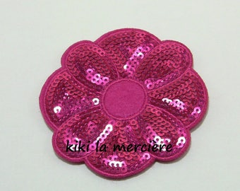 patch, applique, sequin patch has bright fuchsia pink flower sequins sewing