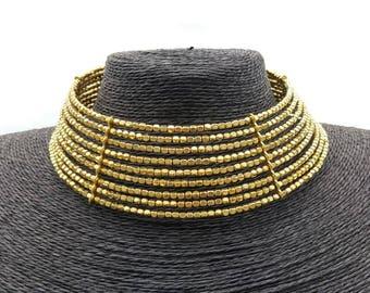 Handmade brass choker necklace. Brass necklace.