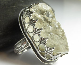 Ice Crystal Ring - Organic Quartz Crystal Set in Sterling SIlver - Size 4.5