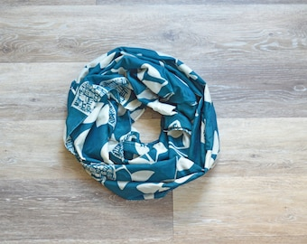 Lightweight Teal and White Leaf Print- Cotton Infinity Scarf