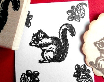 Squirrel Rubber Stamp - Handmade by Blossom Stamps