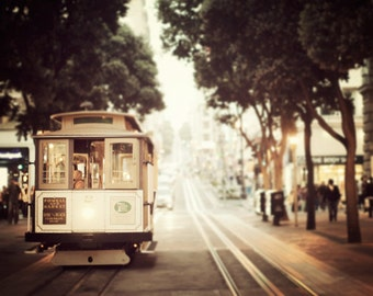 Cable Car Photograph, San Francisco Art Print, California, Fine Art Photography, Brown Wall Art, 8x8, 16x16, 20x20 - Union Square