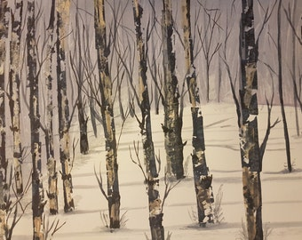 Birch Forest in Snow - Water Colour Painting