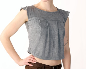 Gray Pleated Crop Top - Soft Jersey Belly Shirt