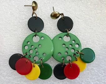 Vintage early plastic, bakelite & galalith dangling earrings