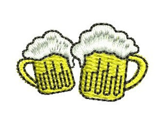 beer mugs embroidery design