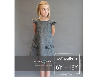 Dorset dress PDF sewing pattern and tutorial 6y-12y  tunic dress jumper  easy sew