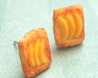 peach pastry earrings- miniature food jewelry