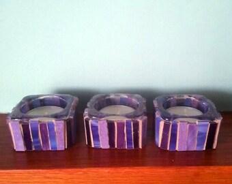 Set of three tealight holders/ purple stained glass tealight holders/ mosaic candle holders