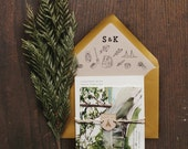 Woodland Camping Watercolor Wedding Invitation: Teepee and feathers