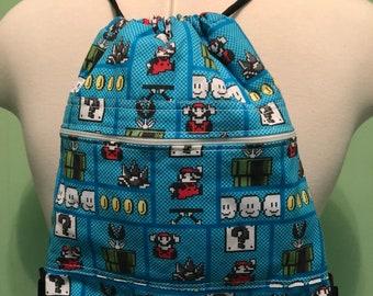 8-bit Mario Drawstring Bag