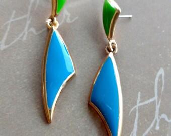 Vintage Blue Green Enamel Earrings, Vintage Jewelry, Vintage Enamel Earrings, Gift for Mom, Dangle Earrings, Blue Earrings, Green Earrings