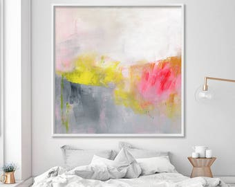 "large wall art ABSTRACT painting Giclee print up to 40x40"" Abstract Art Extra large wall art grey white yellow red, Duealberi"