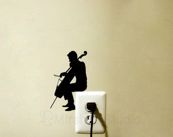 Man Playing Cello Light Switch Decal - Cellist Wall Decor - Music Wall Sticker - Music Lover Decor - Gift for Musician - Classical music Art