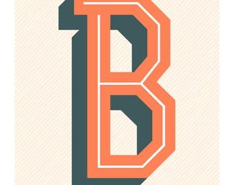 The Letter B, Original Art Print, Typography, Alphabet, Orange, Blue Gray, Cream