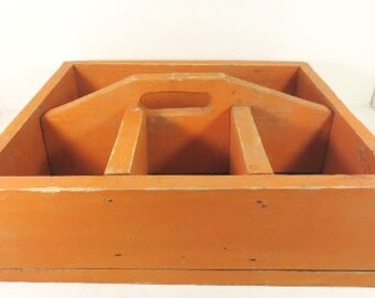 Vintage Primitive Orange Wood Toolbox - Tote