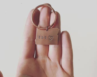Oregon Keychain • hand stamped keychain