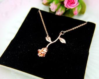 Rose Necklace, Rose Charm, Flower Rose Charm, Garden Gift, Valentine's Day Gift, Natural Inspirational Gift, Romantic Gift, Girlfriend Gift