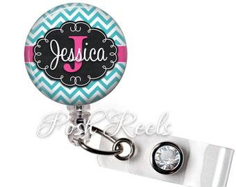 Badge Reel - Personalized Teal and Shocking Pink Chevron Badge Reel ID - Choice of Badge Reel or Carabiner - 0738