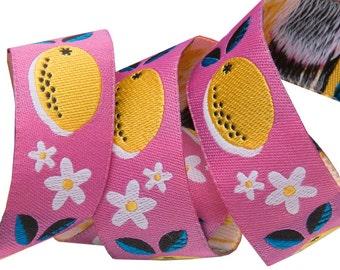 "Jessica Jones Lemons Pink jacquard woven ribbon trim 7/8"" yard"