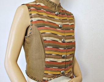 Vintage Vest Women's Top Cotton Twill Woven Guatemala Silver River Earthy Size Medium 1970's