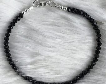 Delicate Black Spinel bracelet with magnetic clasp
