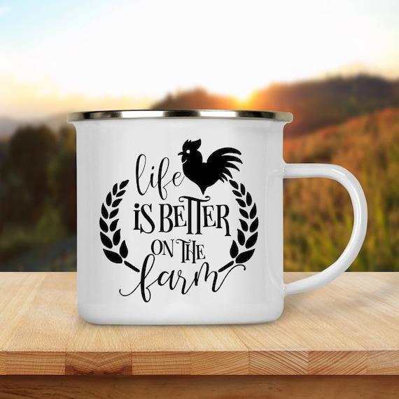 Camp Cup Life is Better on the Farm - Enamel Camp Mug - Dishwasher Safe