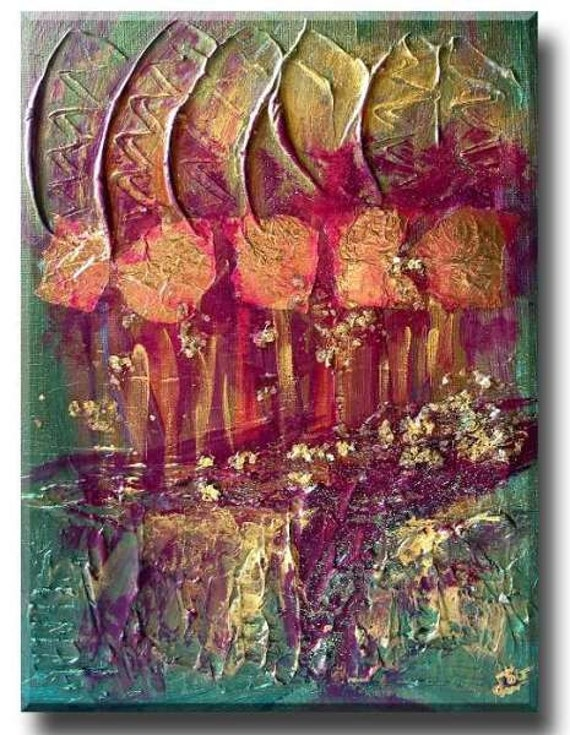 Magic Forest in Gold Foil, Gold mica flakes, clay painting, abstract design, golden painting, forest green art