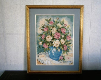 Needlepoint Picture, Vase of Flowers, Gold Frame, Framed Under Glass, Large Framed Needlepoint, Fiber Art,  Pastel Colors, Blue Mat